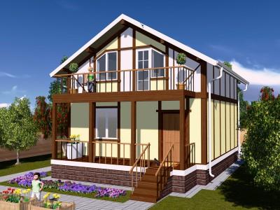 Проект каркасно-щитового дома «Заклинье»