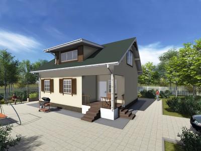 Проект каркасно-щитового дома «Доможирово»